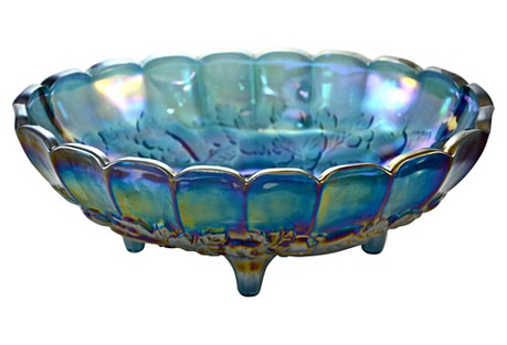 Blue Iridescent Oval Centerpiece Bowl