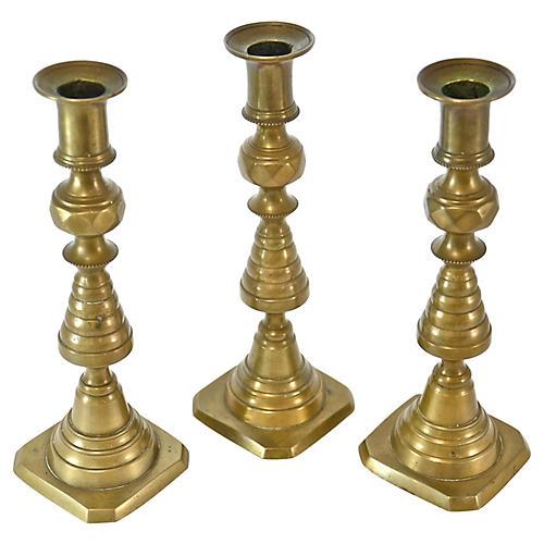 19th-C. English Brass Candlesticks, S/3