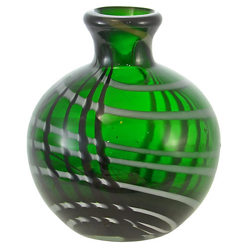 Emerald Green Blown Art Glass Vase