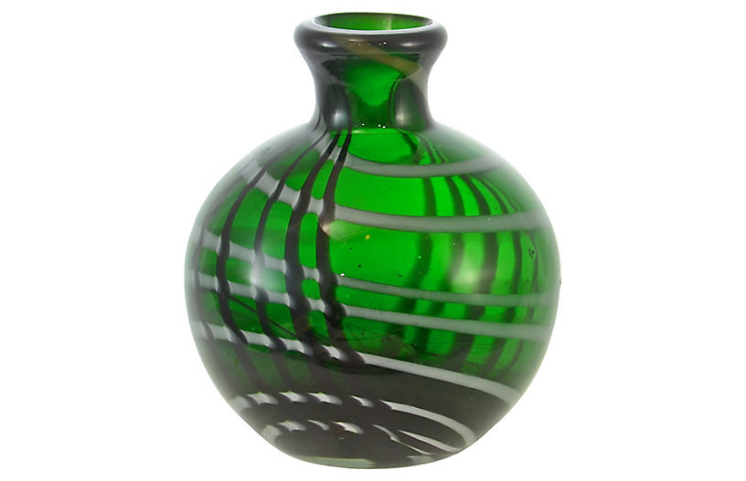 Emerald Green Blown Art Glass Vase