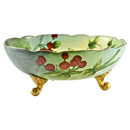 1910s Limoges Hand Painted Cherry Bowl