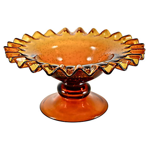 Amber Blown Seed Glass Bowl
