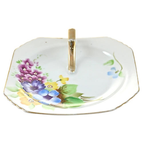 1940s Purple Floral Tray