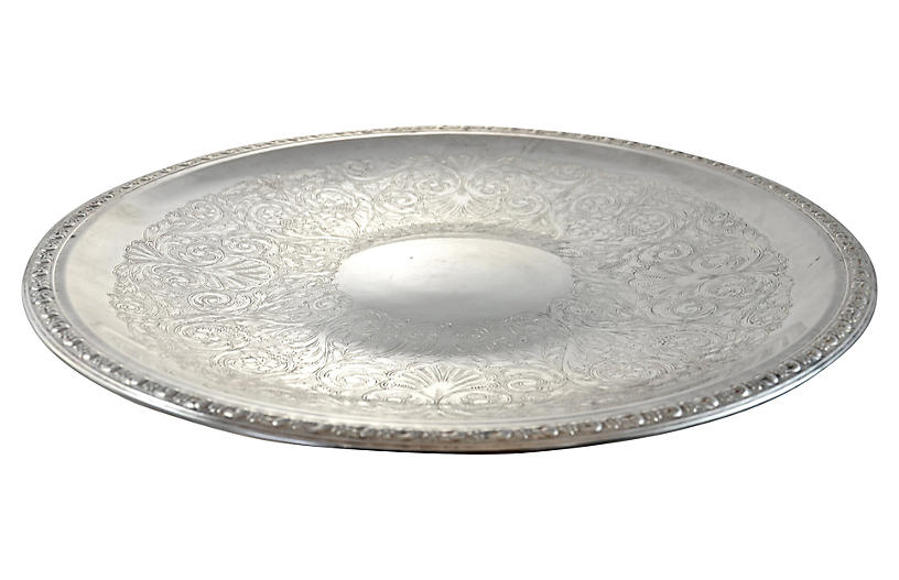 Oversize Chased Silver Tray