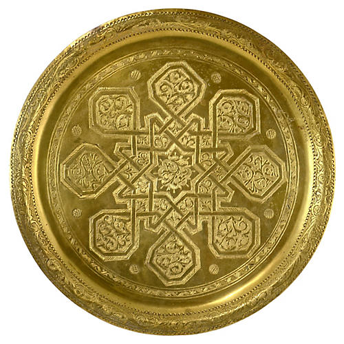 Engraved Moroccan Brass Tray