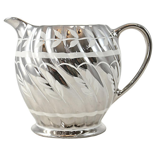 English Platinum Luster Leaf Pitcher