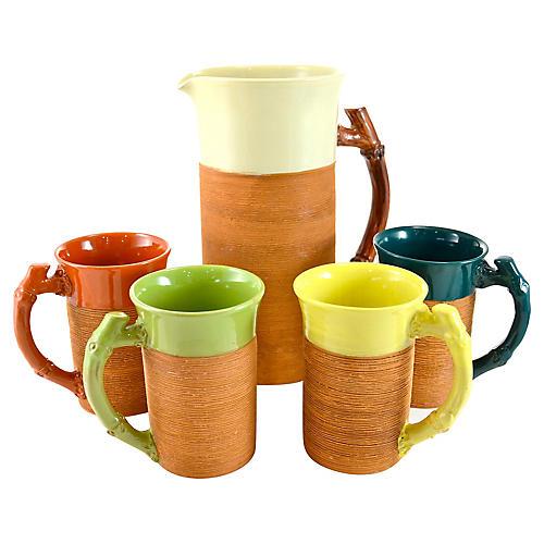 Bamboo Handle Pitcher & Four Mugs