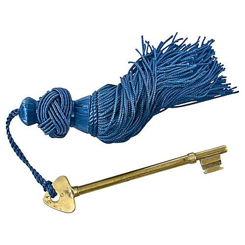 Solid Brass Hotel Key w/ Azure Tassel