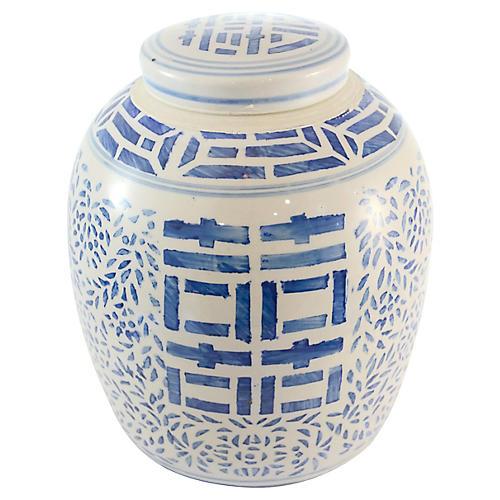 Blue Happiness Lidded Jar