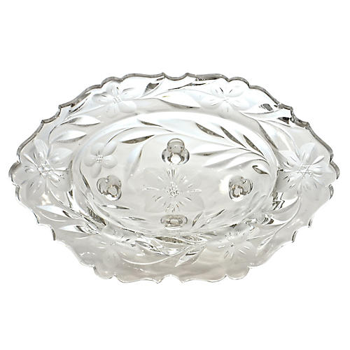 Oval Cut-Crystal Footed Bowl