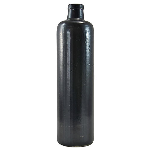 Black Matte Stoneware Bottle