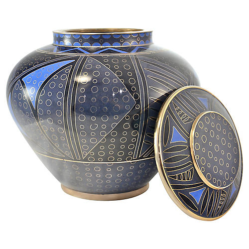 Blue Abstract Cloisonne Jar