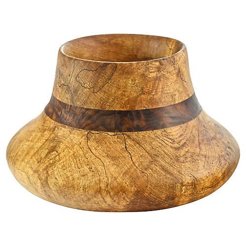Natural Turned Burl Wood Vase
