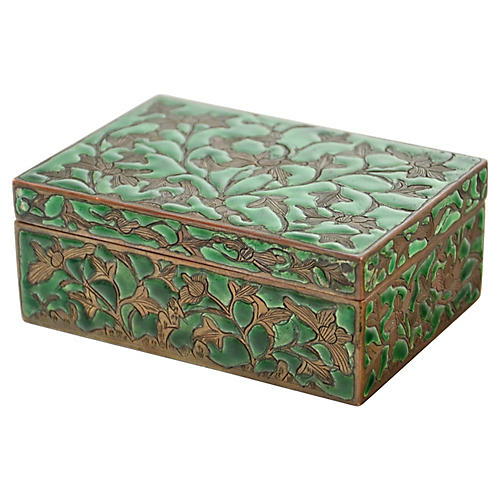 1900s Engraved Copper & Green Enamel Box