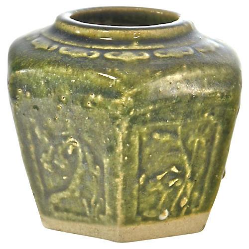 Antique Green Ginger Jar