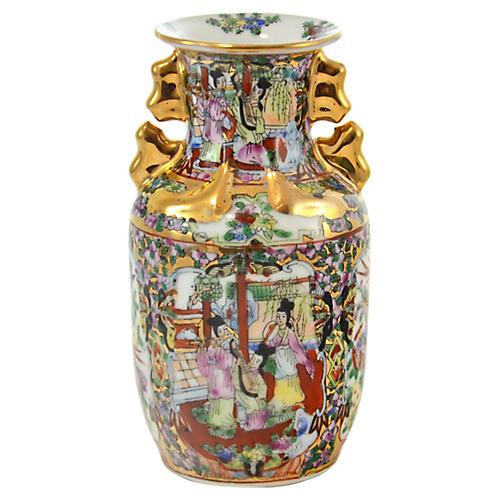 Gold-Encrusted Famille Rose Vase