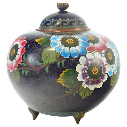 Antique Cobalt Cloisonne Tea Caddy