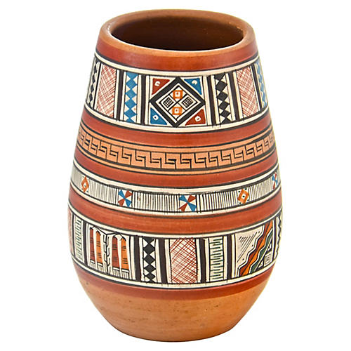Hand-Painted Terracotta Vase