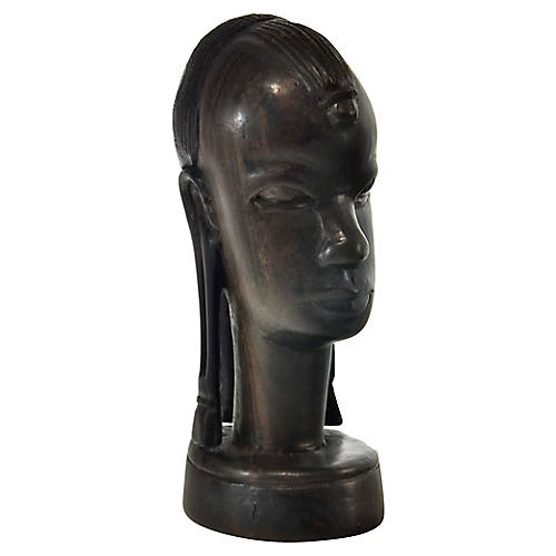 Carved Wood Tribal Bust