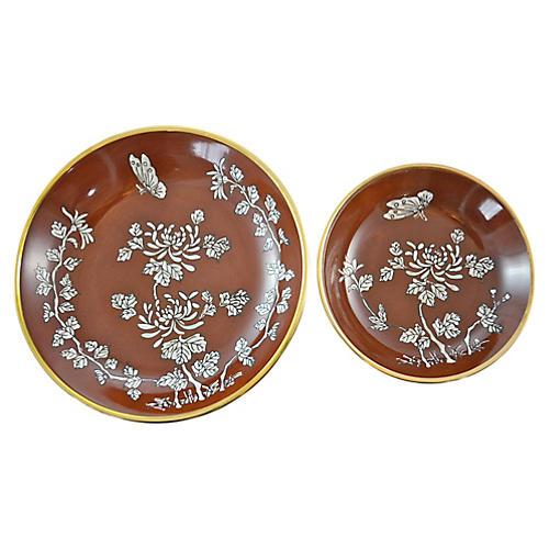 Red & Gold Porcelain Bowls, Pair