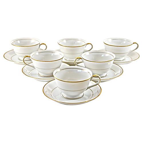 Gold Rim Porcelain Cups & Saucers, S/6