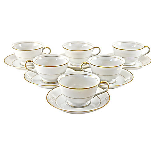 Gold Rim Porcelain Cups & Saucers, S/6