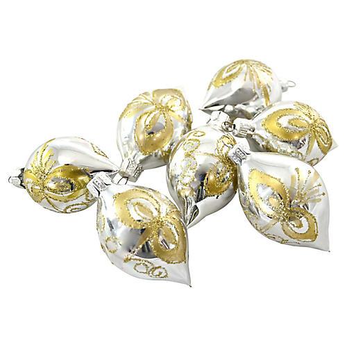 Silver & Gold Glitter Ornaments, S/7