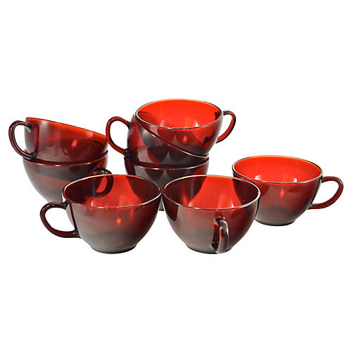 Ruby Red Glass Cups, S/8