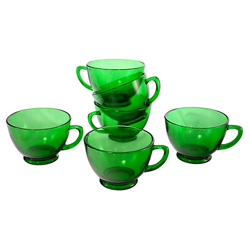 Emerald Green Glass Cups, S/6