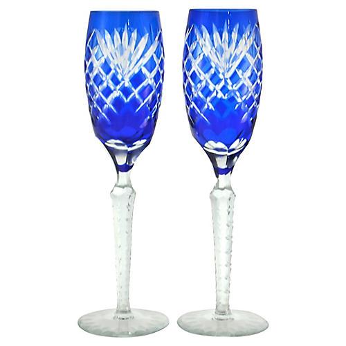 Cobalt Blue Cut-Crystal Flutes, Pair