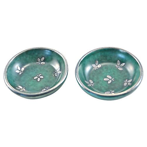 Teal Gustavsberg Trinket Dishes, Pair