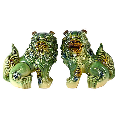 Green-Blue Seated Foo Dogs