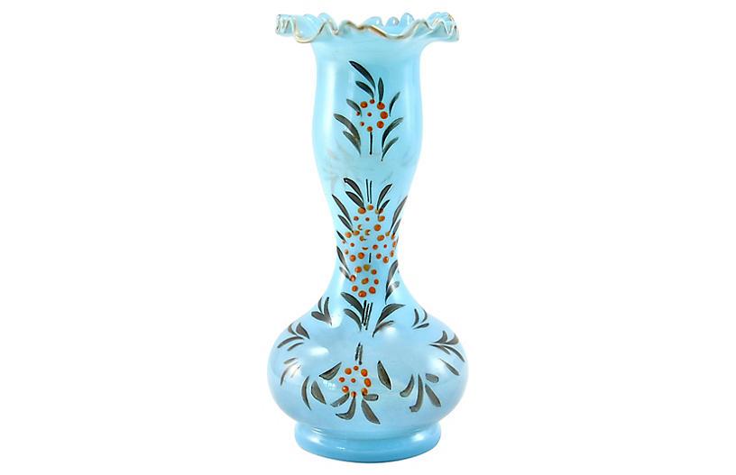 French Blue Opaline Vase