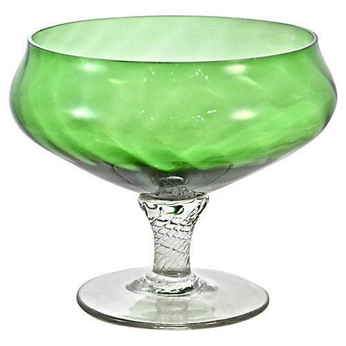 Green Blown Glass Pedestal Bowl