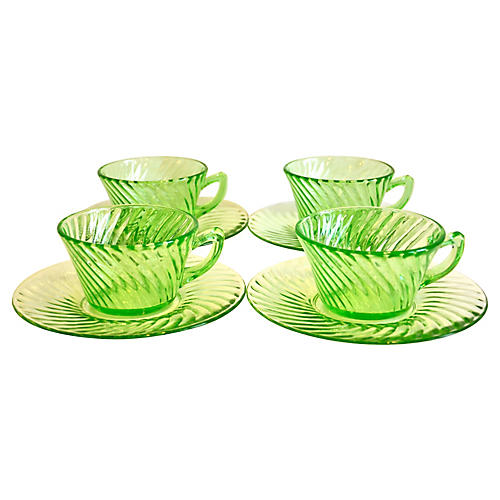 Green Swirl Glass Coupes & Saucers, S/4