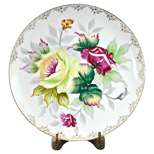 Hand-Painted Rose Tray w/ Stand