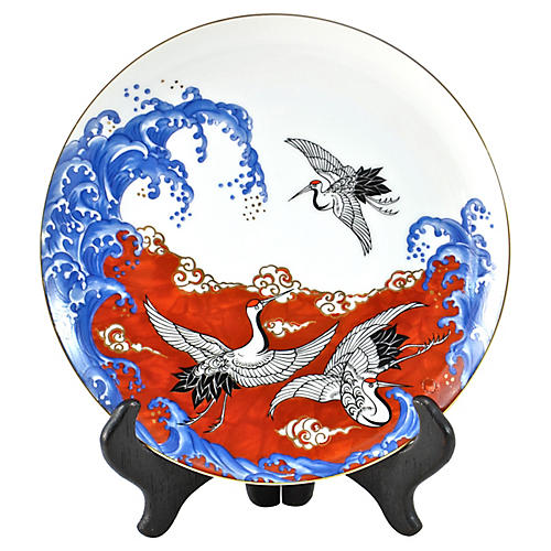 Japanese Waves & Cranes Tray w/ Stand