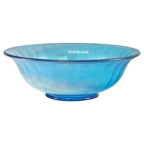 Blue Iridescent Paneled Bowl