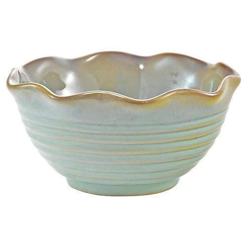 Ribbed Aqua Green Pottery Bowl
