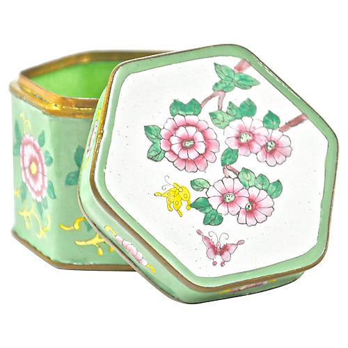 Pink Floral Chinese Enamel Box
