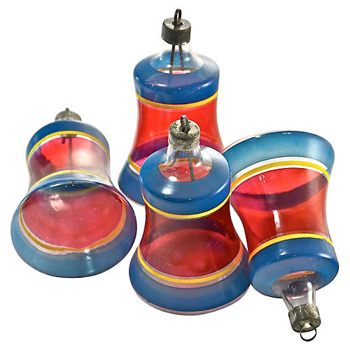 1940s Unsilvered Blue & Red Bells, S/4