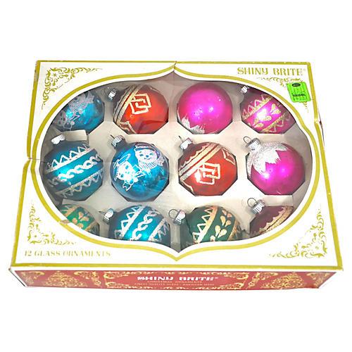 Shiny Brite Boxed Glitter Ornament, S/12