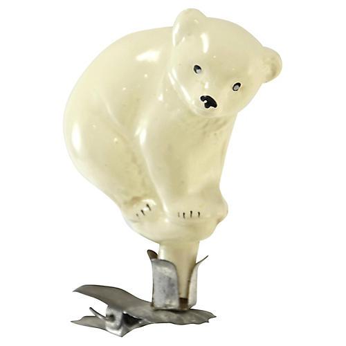 Polar Bear Glass Clip Ornament