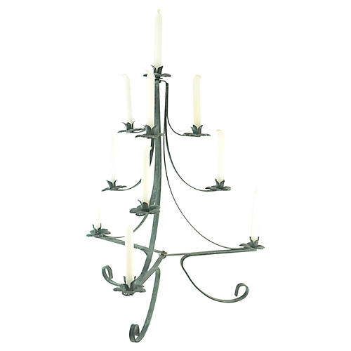 Wrought Iron Verdigris Candle Tree