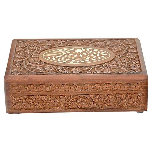Inlaid Bone & Carved Wood Box