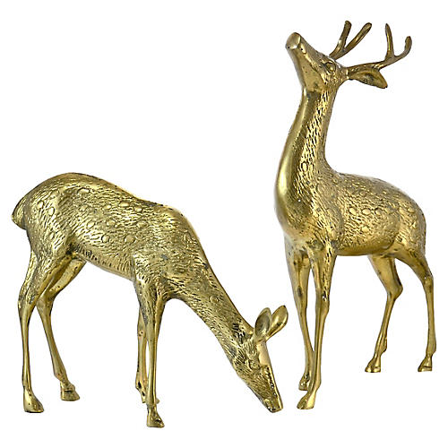 Brass Buck & Doe, Pair
