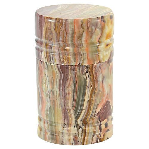 Carved Natural Agate Cylinder Box