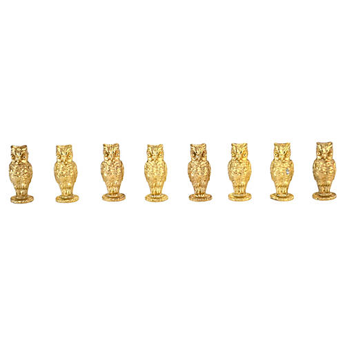 Gold Napier Owl Place Card Holders, S/8
