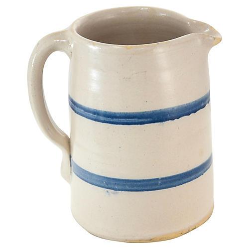Blue Stripe Farmhouse Milk Jug