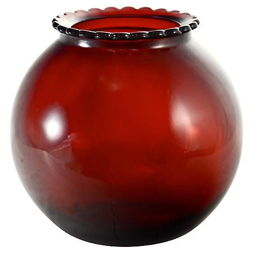 Ruby Red Ball Vase